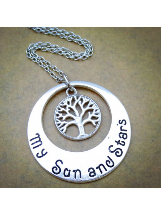 best Laconic Tree Openwork Circle Pendant Necklace For Women - SILVER