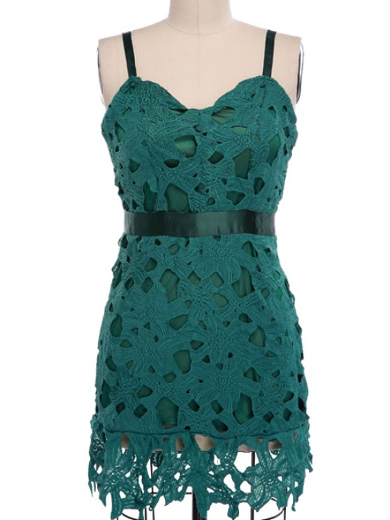 lady Crochet Flower Hollow Spaghetti Straps Dress - DEEP GREEN S