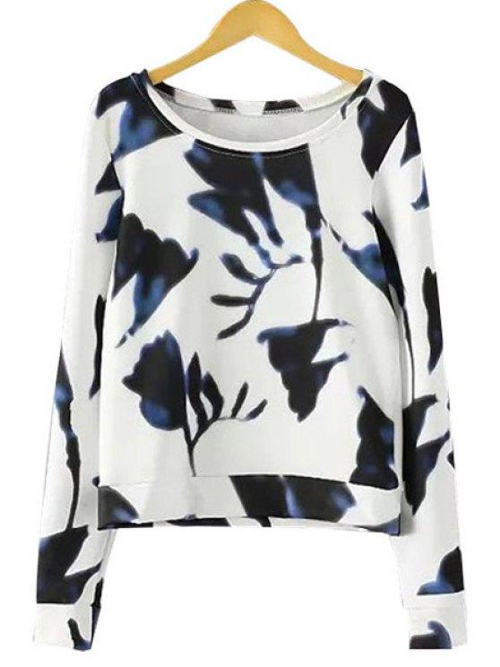 fashion Ink Print Long Sleeve T-Shirt - PURPLISH BLUE S