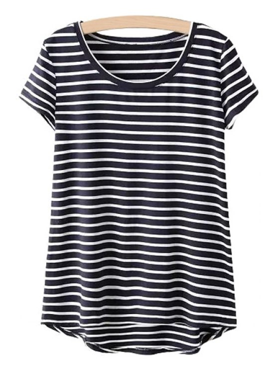 buy Asymmetrical Stripe Short Sleeve T-Shirt - BLACK ONE SIZE(FIT SIZE XS TO M)