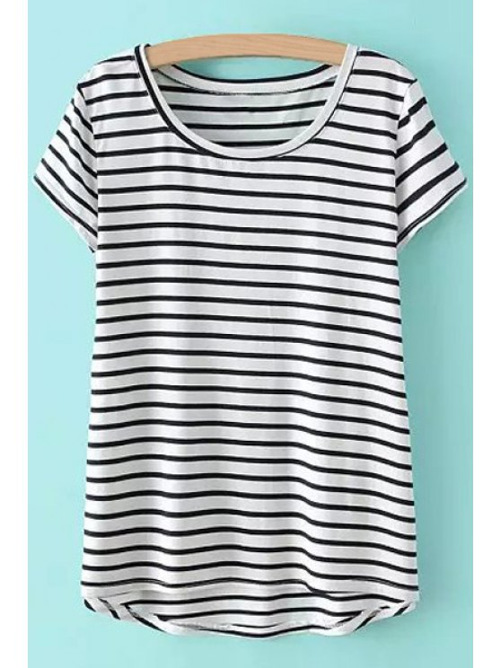 women Asymmetrical Stripe Short Sleeve T-Shirt - WHITE ONE SIZE(FIT SIZE XS TO M)