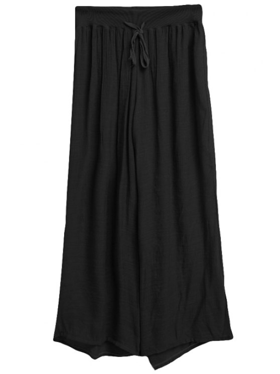 best Solid Color Drawstring Wide Leg Pants - BLACK ONE SIZE(FIT SIZE XS TO M)