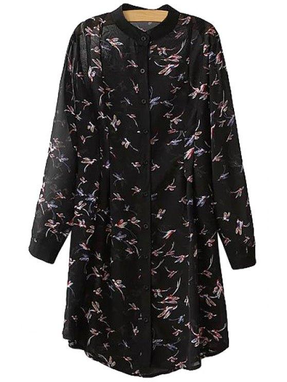 hot Round Neck Bird Print Long Sleeve Dress - BLACK M