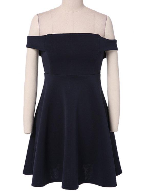 affordable Solid Color Slash Neck A-Line Dress - PURPLISH BLUE S
