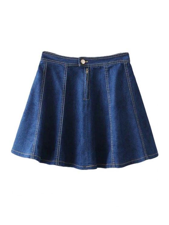 latest Denim Zipper Fly Skirt - DEEP BLUE S