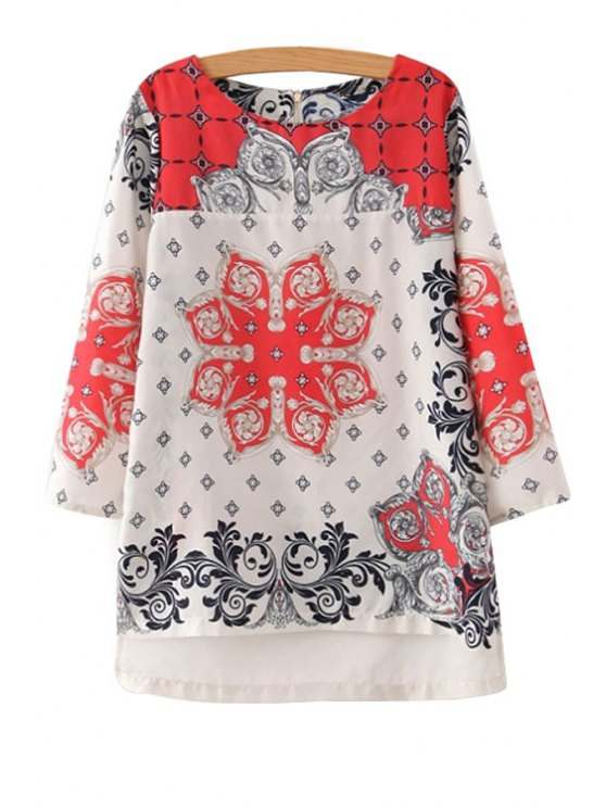 chic Positioning Print 3/4 Sleeve Blouse - BLACK AND WHITE AND RED S