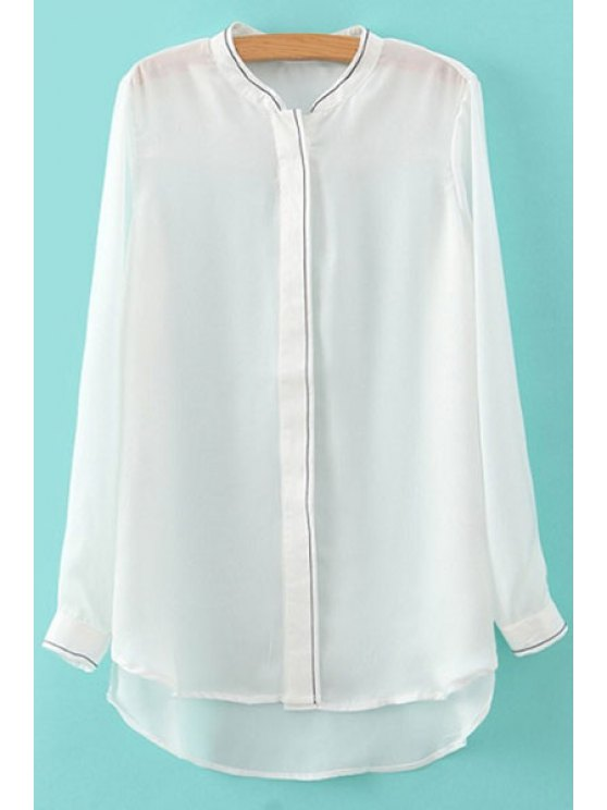 best White Stand Neck Long Sleeve Shirt - WHITE S