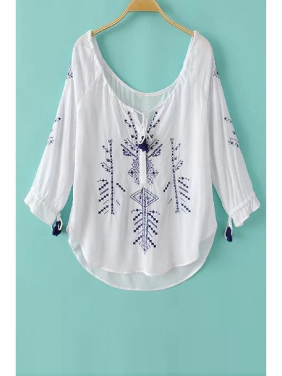 ladies Embroidery Tie-Up Long Sleeve T-Shirt - WHITE S