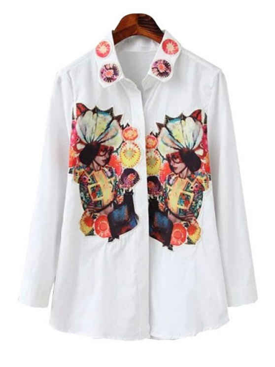 trendy Figure Print Patch Design Shirt - WHITE M