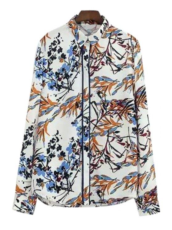 hot Plum Blossom Leaves Print Shirt - COLORMIX S