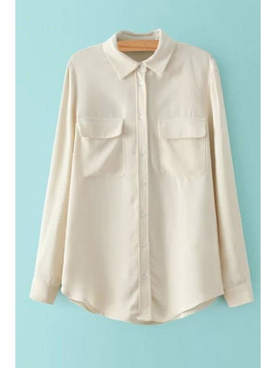 trendy Two Pockets Solid Color Long Sleeve Shirt - BEIGE S