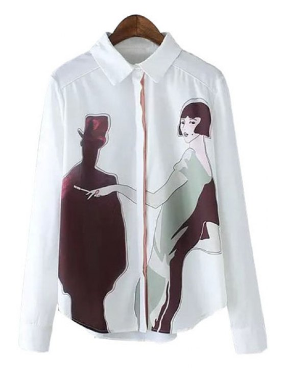 unique Shirt Neck Figure Print Shirt - WHITE S