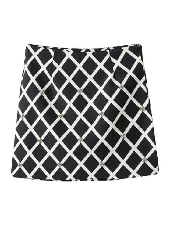 women's Diamante Checked Pattern Skirt - CHECKED S