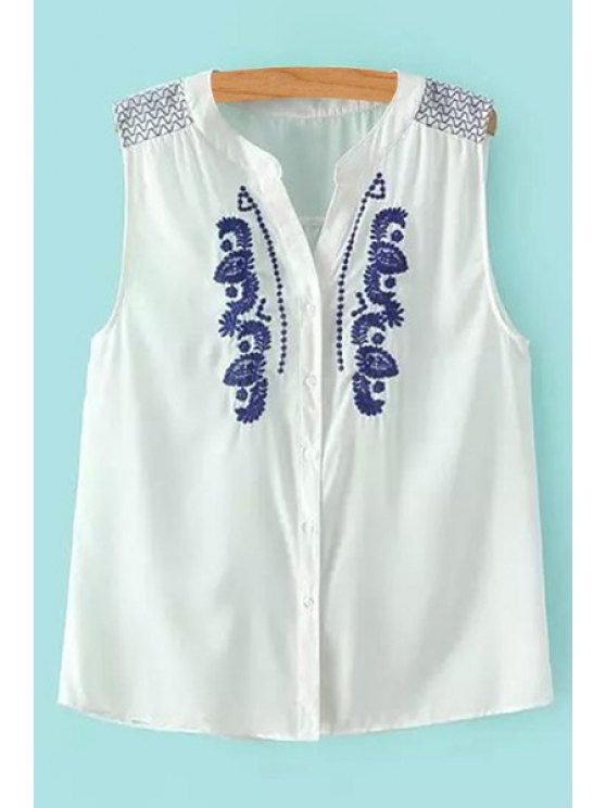 affordable Embroidery Ruffle Sleeveless Shirt - WHITE S