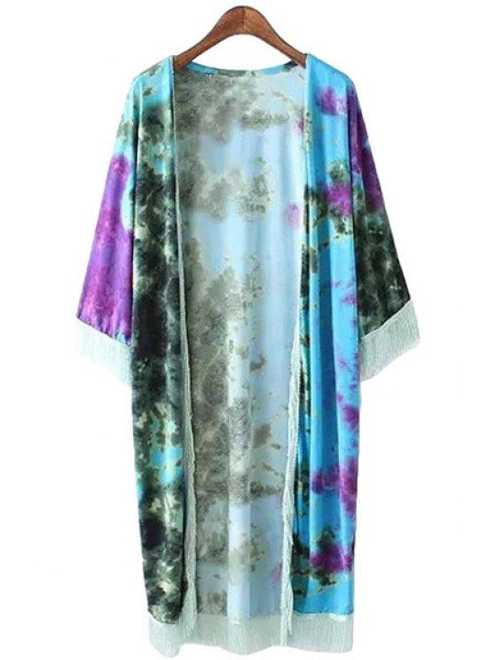 shops Print Tassels 3/4 Sleeves Blouse - COLORMIX S