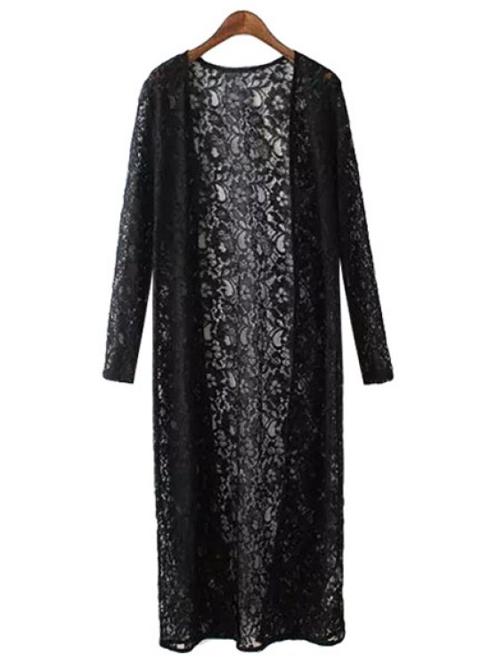 lady Lace Solid Color Long Sleeve Coat - BLACK S