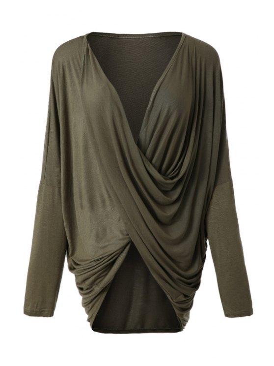 shops Irregular Design Long Sleeve T-Shirt - ARMY GREEN S