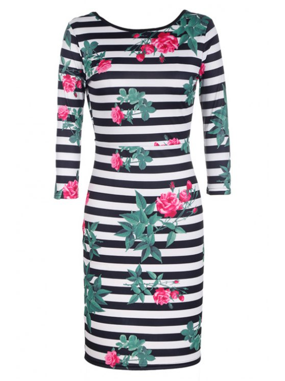 fancy Backless Stripe Floral Print 3/4 Sleeve Dress - WHITE AND BLACK S