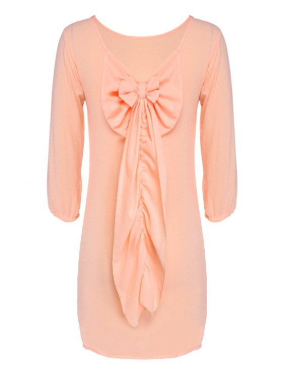 outfit Backless Bowknot Long Sleeve Dress - PINK M