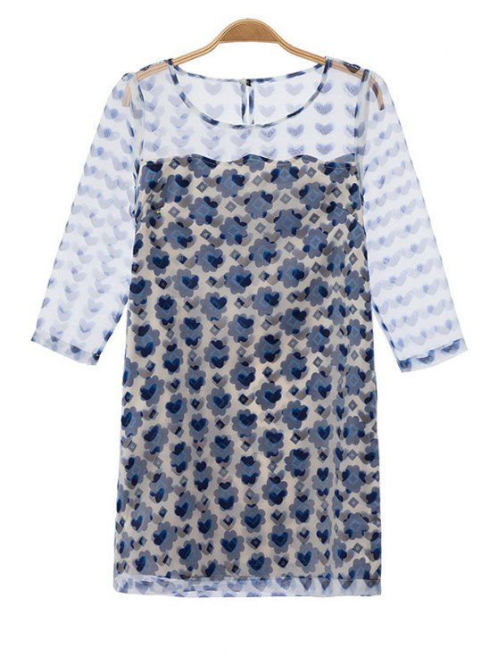women Heart Print Voile Spliced 3/4 Sleeve Dress - BLUE AND WHITE S