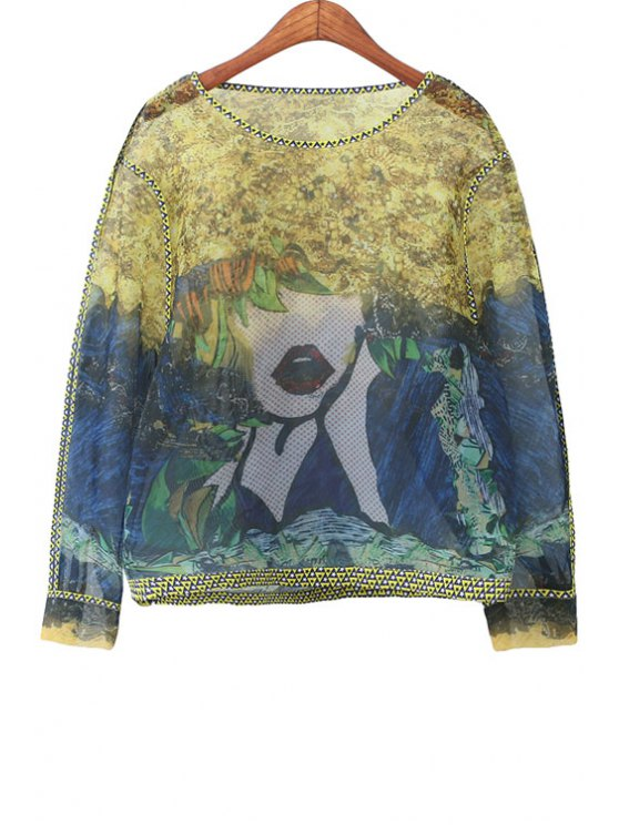 lady Abstract Figure Print Long Sleeve Blouse - BLUE AND YELLOW S