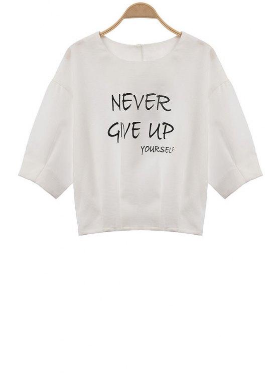 ladies Letter Print White 3/4 Sleeve T-Shirt - WHITE S