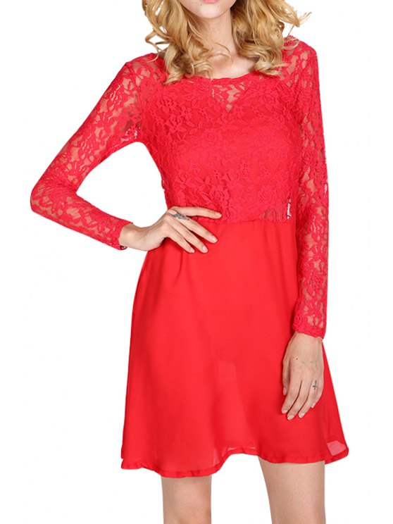 best Bowknot Splicing Backless Lace Dress - RED S