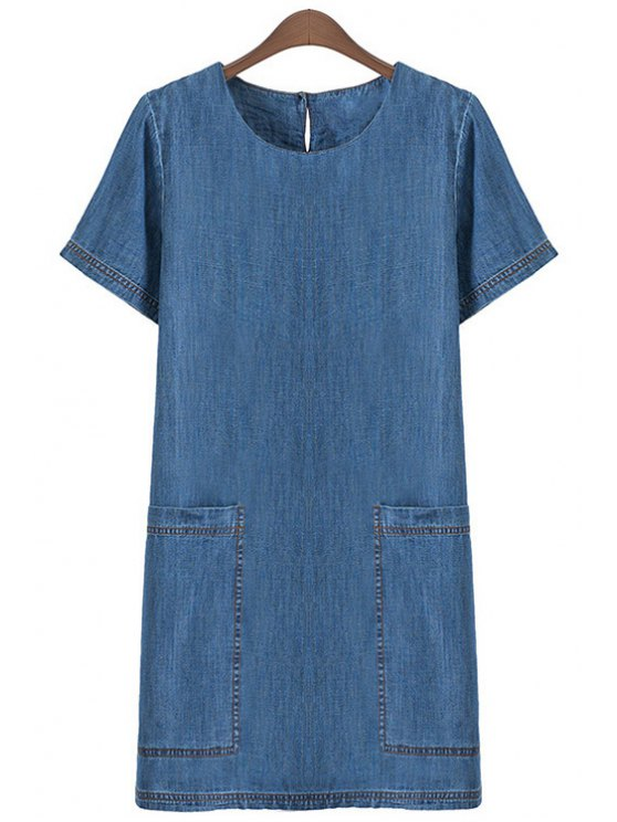 hot Solid Color Short Sleeves Denim Dress - BLUE S