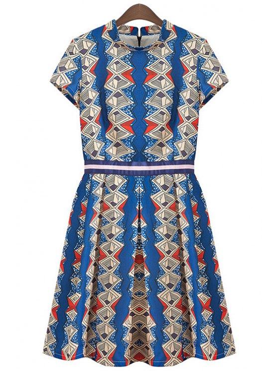 fashion Short Sleeve Argyle Print Dress - BLUE L