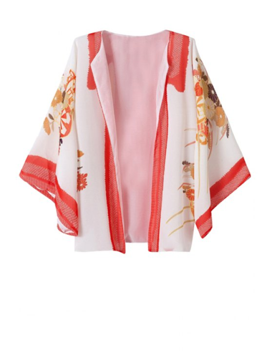 women's Collarless Floral Print Long Sleeve Coat - RED S