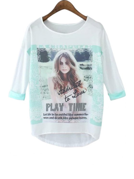 fashion Girl Print Half Sleeve T-Shirt - WHITE AND GREEN S