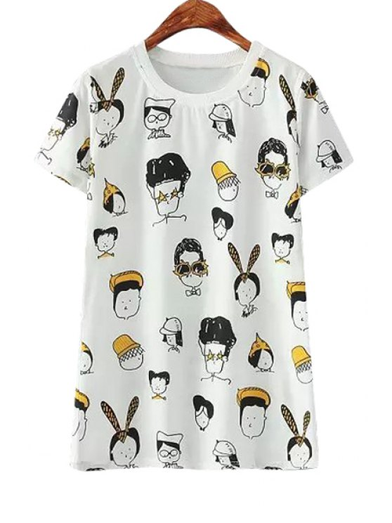 chic Jewel Neck Cartoon Figure Print T-Shirt - WHITE ONE SIZE(FIT SIZE XS TO M)