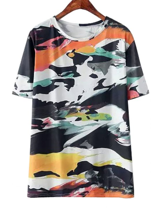 buy Jewel Neck Colorful Print Short Sleeve T-Shirt - BLACK ONE SIZE(FIT SIZE XS TO M)