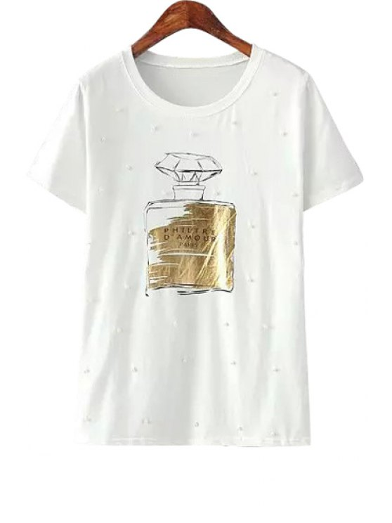 women's Faux Pearl Perfume Bottle Print T-Shirt - WHITE ONE SIZE(FIT SIZE XS TO M)