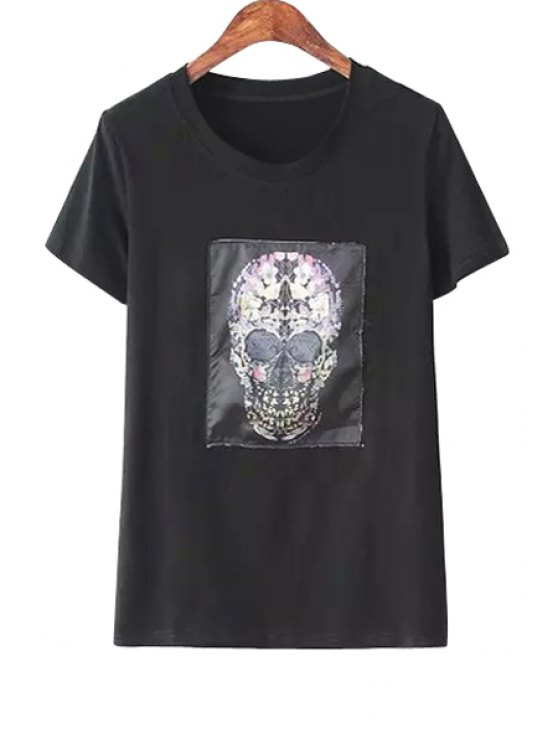 ladies Jewel Neck Skull Print T-Shirt - BLACK ONE SIZE(FIT SIZE XS TO M)