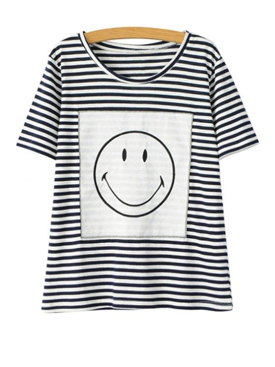 womens Striped Smiley Face Short Sleeve T-Shirt - STRIPE M