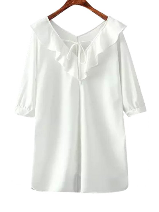 affordable Flounce Splicing Tie-Up Solid Color Dress - WHITE ONE SIZE(FIT SIZE XS TO M)