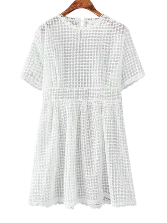 outfits See-Through Lace Short Sleeve Dress - WHITE ONE SIZE(FIT SIZE XS TO M)