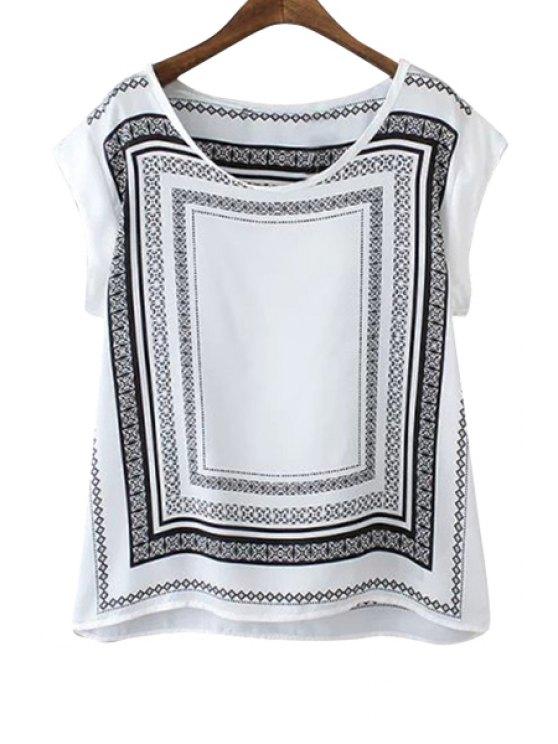 shops Geometric Print Short Sleeve T-Shirt - WHITE AND BLACK S