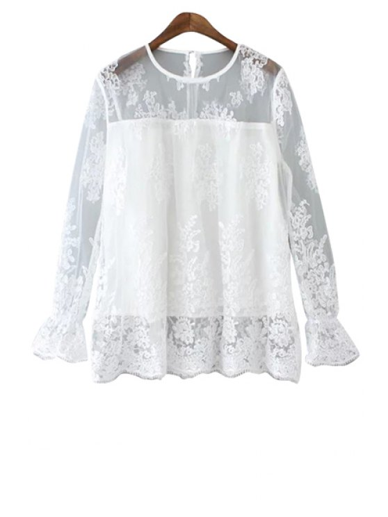 shop Jewel Neck See-Through Lace Dress - WHITE S