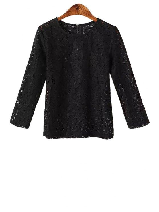 women's Solid Color Lace 3/4 Sleeve Blouse - BLACK S