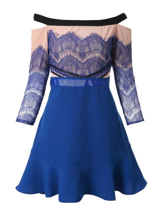 latest Slash Neck Lace Splicing Flounce Dress - BLUE S