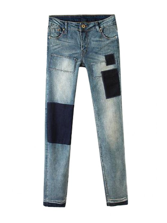 lady Applique Splicing Zipper Fly Jeans - BLUE GRAY 26