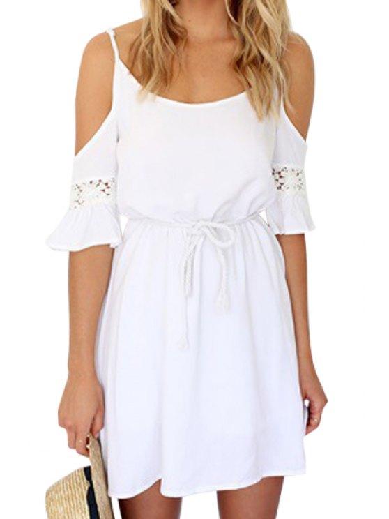 new White Off-The-Shoulder Half Sleeve Dress - WHITE S