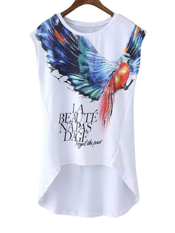 ladies Colorful Bird Letter Print Sleeveless T-Shirt - WHITE L