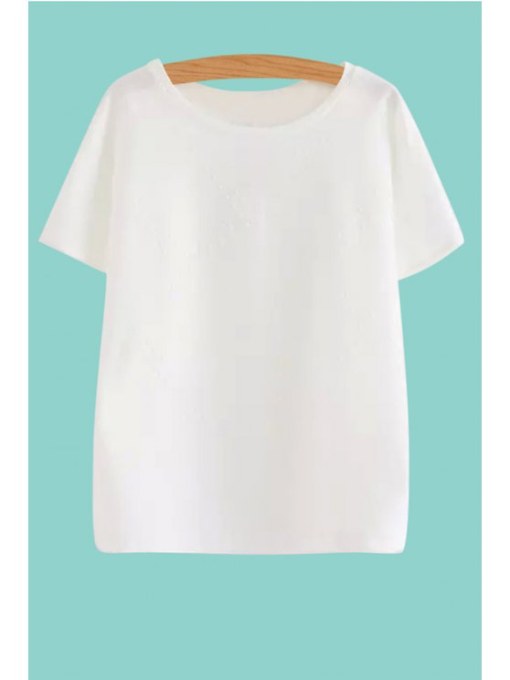 lady Faux Pearl Embellished Short Sleeve T-Shirt - WHITE S