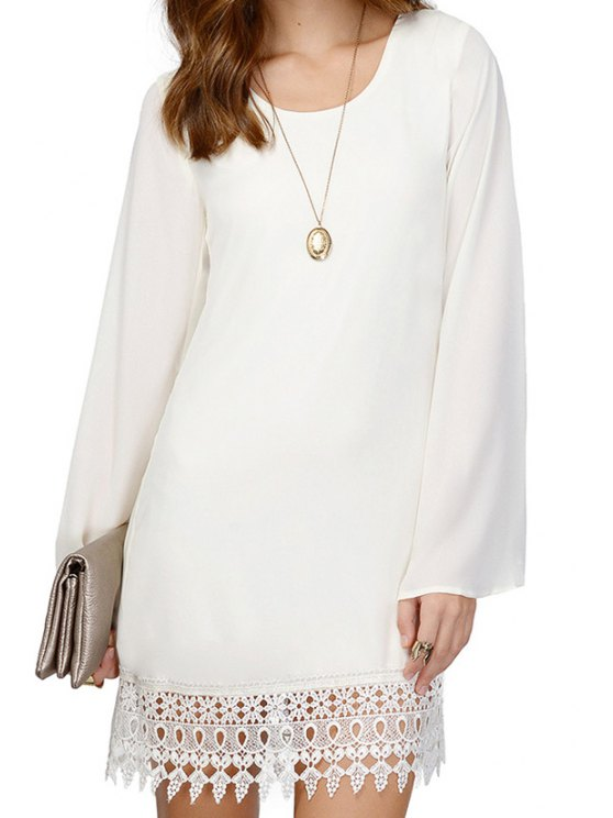 online Solid Color Lacework Long Sleeve Dress - WHITE S
