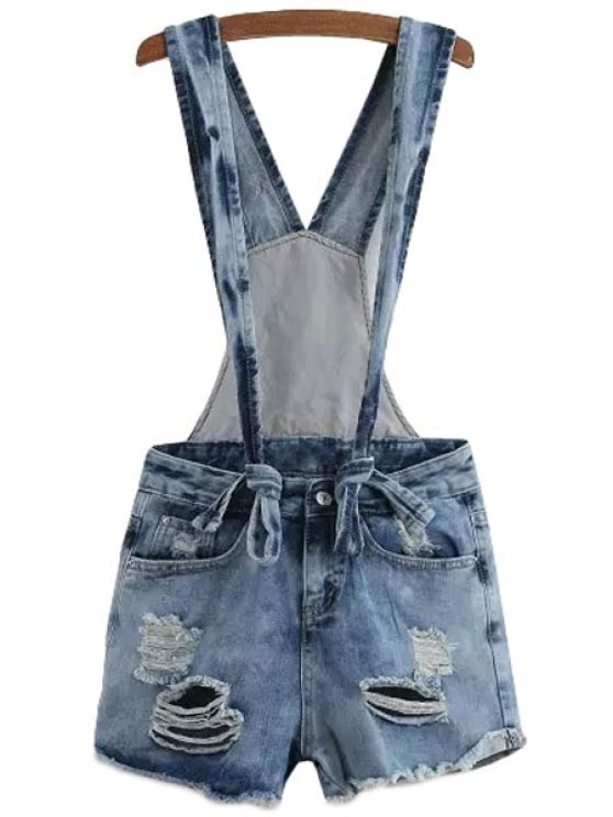 outfit Destroy Wash Denim Overalls - BLUE S