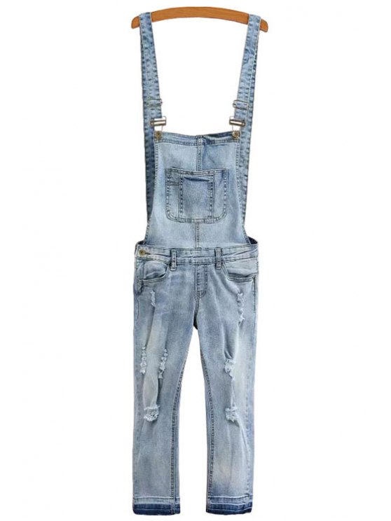 chic Pocket Destroy Wash Denim Overalls - LIGHT BLUE S