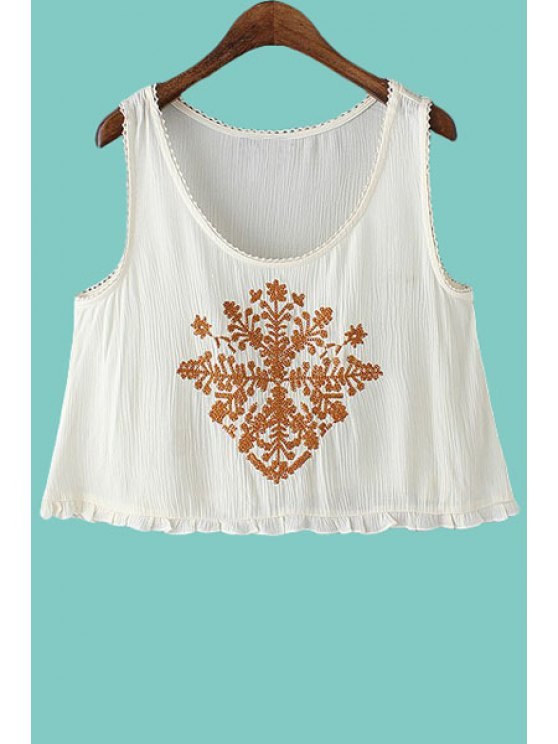 fashion Embroidery Flounce Sleeveless Tank Top - WHITE S